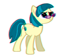 Size: 840x720 | Tagged: safe, artist:trini-mite, juniper montage, pony, equestria girls, 3d, anaglyph 3d, chromatic aberration, equestria girls ponified, ponified, simple background, solo, transparent background, vector