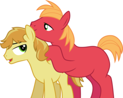Size: 937x751 | Tagged: safe, artist:jeatz-axl, big macintosh, braeburn, pony, applecest, braemac, gay, incest, male, missing cutie mark, shipping, simple background, white background