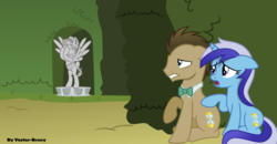 Size: 1024x531 | Tagged: safe, artist:vector-brony, doctor whooves, minuette, time turner, earth pony, pony, unicorn, a royal problem, bowtie, doctor who, duo, female, male, mare, ponified, scene interpretation, stallion, statue, the doctor, weeping angel, weeping pegasus