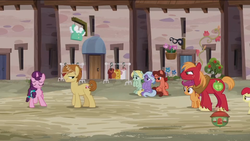 Size: 1920x1080 | Tagged: safe, screencap, apple bloom, big macintosh, dear darling, feather bangs, fond feather, scootaloo, sugar belle, swoon song, earth pony, pegasus, pony, unicorn, hard to say anything, baguette, battle for sugar belle, bimbettes, bread, carrot, clothes, cutie mark, dress, food, jelly, ketchup, mystery object, our town, pea, sauce, the cmc's cutie marks, tomato, vegetables