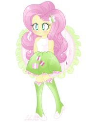 Size: 1280x1656 | Tagged: safe, artist:pinkprincessblossom, fluttershy, equestria girls, boots, clothes, colored pupils, cute, high heel boots, looking at you, moe, shyabetes, simple background, skirt, smiling, socks, solo, sparkles, tanktop, transparent background