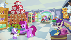Size: 1920x1080 | Tagged: safe, screencap, berry punch, berryshine, plum star, princess flurry heart, spike, star swirl the bearded, titania, twilight sparkle, alicorn, butterfly, chicken, dragon, jackalope, manticore, monkey, parasprite, pony, raccoon, tortoise, ursa minor, a flurry of emotions, 5-year-old, balloon, castle, plushie, shopping cart, store, toy, toy store, train, twilight sparkle (alicorn), wagon