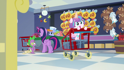 Size: 1920x1080 | Tagged: safe, screencap, princess flurry heart, spike, twilight sparkle, alicorn, dragon, jackalope, manticore, parasprite, pony, ursa minor, a flurry of emotions, store, stuffed toy, toy store, twilight sparkle (alicorn)