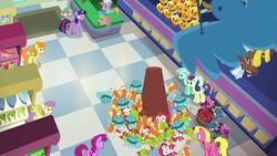 Size: 1920x1080 | Tagged: safe, screencap, berry punch, berryshine, bon bon, carrot top, cherry berry, golden harvest, lyra heartstrings, parasol, spike, sweetie drops, twilight sparkle, alicorn, dragon, jackalope, manticore, parasprite, pony, raccoon, ursa minor, a flurry of emotions, stuffed toy, teddy bear, toy store, twilight sparkle (alicorn)
