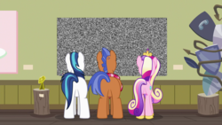 Size: 1920x1080 | Tagged: safe, edit, edited screencap, screencap, princess cadance, shining armor, spearhead, pony, a flurry of emotions, a thousand nights in a hallway, animation error, art exhibition, modern art, plot, sculpture, static, television, traditional art