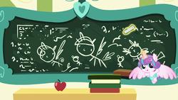 Size: 1920x1080   Tagged: safe, screencap, princess flurry heart, spike, twilight sparkle, alicorn, dragon, pony, a flurry of emotions, apple, book, chalk, chalk drawing, chalkboard, diaper, drawing, flurry art, flurry heart's chalkboard, food, meme origin, princess flurry smart, school, solo, twilight sparkle (alicorn)