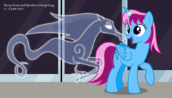 Size: 11200x6400 | Tagged: safe, artist:parclytaxel, oc, oc only, oc:parcly taxel, oc:spindle, alicorn, pony, windigo, ain't never had friends like us, albumin flask, .svg available, absurd resolution, alicorn oc, boop, female, hong kong, horn ring, looking back, mare, mtr, noseboop, open mouth, parcly in hong kong, parcly's travel covers, smiling, vector, windigo oc