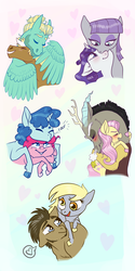 Size: 1024x2048 | Tagged: safe, artist:loryska, derpy hooves, discord, doctor whooves, fluttershy, maud pie, party favor, pinkie pie, rarity, time turner, trenderhoof, zephyr breeze, pony, blushing, discoshy, doctorderpy, female, gay, kissing, lesbian, male, neck nuzzle, nuzzling, partypie, rarimaud, shipping, ships ahoy, straight, trenderbreeze, wing hands