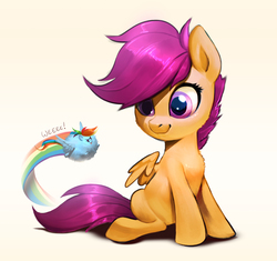 Size: 2038x1917   Tagged: safe, artist:imalou, rainbow dash, scootaloo, pegasus, pony, blob ponies, blob pony, chubbie, cute, cutealoo, dashabetes, duo, female, filly, fluffy, sitting, smiling