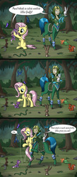 Size: 2000x4590 | Tagged: safe, artist:sirzi, angel bunny, fluttershy, bird, butterfly, dryad, frog, mouse, pegasus, pony, rabbit, snake, squirrel, tortoise, weasel, taur, :o, absurd resolution, animal, cloven hooves, comic, crossover, cute, eyes closed, female, forest, frown, grin, holding a pony, hoof hold, hoofy-kicks, hug, looking up, mare, mylune (world of warcraft), nature, open mouth, petting, raised hoof, scenery, shyabetes, sitting, smiling, unamused, warcraft, world of warcraft