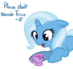 Size: 799x753 | Tagged: safe, artist:neuro, trixie, twilight sparkle, pony, unicorn, cup, dialogue, female, floppy ears, inanimate tf, mare, objectification, open mouth, simple background, teacup, that pony sure does love teacups, transformation, transparent background, twitem
