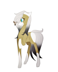 Size: 1024x1272 | Tagged: safe, artist:xxmissteaxx, oc, oc only, oc:keanu, earth pony, hummingbird, pony, female, mare, raised hoof, simple background, solo, transparent background