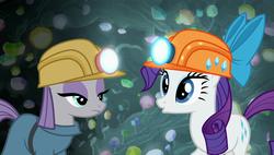Size: 1920x1090 | Tagged: safe, screencap, maud pie, rarity, pony, rock solid friendship, bow, cave, gem, gem cave, helmet, mining helmet