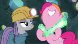 Size: 1920x1090 | Tagged: safe, screencap, maud pie, pinkie pie, earth pony, pony, rock solid friendship, cave, check mark, female, gem, gritted teeth, hard hat, helmet, mining helmet, nose in the air, sisters, volumetric mouth