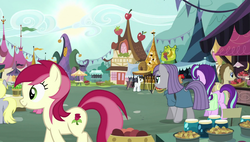 Size: 1920x1090   Tagged: safe, screencap, crescent pony, derpy hooves, mane moon, maud pie, mercury, roseluck, starlight glimmer, starry eyes (character), pegasus, pony, rock solid friendship, female, mare, ponyville market