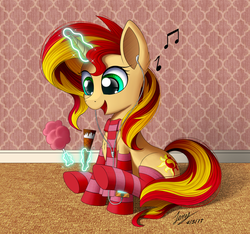 Size: 3000x2813   Tagged: safe, artist:duskie-06, sunset shimmer, pony, unicorn, clothes, cotton candy, cute, earbuds, female, food, glowing horn, ice cream, magic, mare, music notes, shimmerbetes, sitting, smiling, socks, solo, stockings, striped socks, thigh highs
