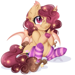 Size: 1600x1600 | Tagged: safe, artist:pvrii, oc, oc only, oc:pinot noir, bat pony, pony, clothes, cute, female, hair over one eye, hnnng, mare, ocbetes, simple background, sitting, socks, solo, stockings, striped socks, thigh highs, transparent background