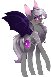 Size: 1210x1808 | Tagged: safe, artist:alithecat1989, oc, oc only, oc:amethyst sky, bat pony, pony, colored pupils, fangs, female, looking at you, mare, requested art, simple background, solo, spread wings, transparent background, watermark, wings