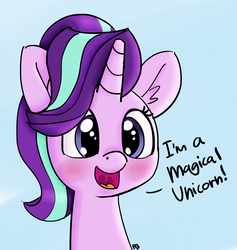 Size: 1280x1351 | Tagged: safe, artist:pabbley, artist:yakoshi, color edit, edit, starlight glimmer, pony, unicorn, blue background, blushing, bust, captain obvious, colored, cute, dialogue, female, glimmerbetes, mare, open mouth, simple background, solo, truth