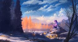Size: 2000x1080 | Tagged: safe, artist:shamanguli, twilight sparkle, pony, unicorn, autumn, beautiful, cloud, female, looking away, mare, scenery, scenery porn, sky, snow, snowfall, solo, tree