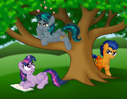 Size: 1600x1244   Tagged: safe, artist:aleximusprime, flash sentry, twilight sparkle, oc, oc:blackgryph0n, alicorn, pegasus, pony, book, female, flashlight, heart, jealous, looking back, looking down, looking up, love triangle, male, mare, shipping, smiling, stallion, straight, tree, trio, twilight sparkle (alicorn)