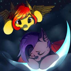 Size: 3000x3000 | Tagged: safe, artist:rokufuro, oc, oc only, oc:dawn sentry, oc:firetale, bat pony, pegasus, pony, bat pony oc, cloud, moon, peeping, sleeping, ych result