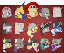 Size: 4000x3300 | Tagged: safe, artist:facelesssoles, applejack, derpy hooves, fluttershy, granny smith, limestone pie, maud pie, octavia melody, pinkie pie, princess luna, rainbow dash, rarity, starlight glimmer, sunset shimmer, trixie, twilight sparkle, pony, american revolution, ancient egypt, armor, born to x, bust, christianity, cigarette, confederate, conquistador, cross, crusader, fantasy class, felt, gas mask, german empire, hat, helmet, high res, history, kingdom of jerusalem, knight, marlboro, mask, medieval, modern age, mongol, napoleonic wars, paladin, pinkamena diane pie, portrait, redcoat, roman, soldier, spartan, stahlhelm, tricorne, vietnam war, war, warrior, wehrmacht, world war i, world war ii, young granny smith
