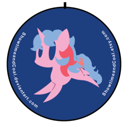 Size: 600x600   Tagged: safe, artist:showtimeandcoal, buttons (g1), pony, button, commission, g1, pin, simple background, solo, ych result