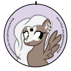 Size: 600x600   Tagged: safe, artist:showtimeandcoal, oc, oc only, pegasus, pony, 3rd eye, all seeing eye, button, commission, custom, eye, irl, photo, piercing, pin, solo, toy, ych result