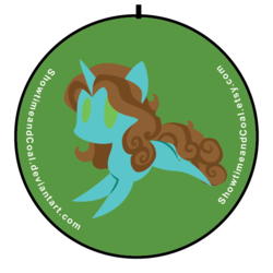 Size: 600x600   Tagged: safe, artist:showtimeandcoal, oc, oc only, oc:shimmer seadrift, pony, unicorn, button, commission, custom, irl, photo, pin, simple background, solo, toy, vector, ych result