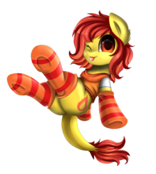 Size: 2550x2850 | Tagged: safe, artist:pridark, oc, oc only, oc:flamespitter, pony, clothes, commission, cute, looking at you, plot, simple background, socks, solo, striped socks, tongue out, transparent background, underhoof, ych result