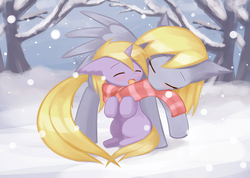 Size: 1512x1075 | Tagged: artist:howxu, clothes, cute, derpabetes, derpy hooves, dinkabetes, dinky hooves, equestria's best mother, eyes closed, howxu is trying to murder us, mother and daughter, mouth hold, nuzzling, pony, safe, scarf, sitting, snow, tree, weapons-grade cute, winter