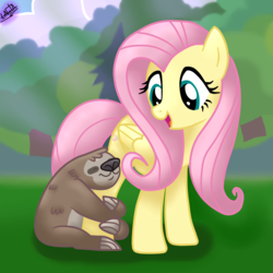 Size: 1500x1500 | Tagged: safe, artist:liniitadash23, fluttershy, lola the sloth, pegasus, pony, sloth, fluttershy leans in, cute, duo, eyes closed, female, grass, hug, looking back, mare, shyabetes, tree
