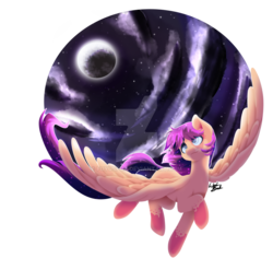 Size: 1024x967   Tagged: safe, artist:fuyusfox, oc, oc only, oc:star shift, pegasus, pony, beautiful, cloud, colored hooves, commission, flying, full moon, long tail, looking up, male, moon, night, signature, smiling, solo, sparkly eyes, sparkly mane, spread wings, stallion, stars, watermark, wings