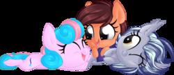 Size: 1024x447   Tagged: safe, artist:kellythedrawinguni, oc, oc only, oc:nova starburst, oc:rain, oc:tree, bat pony, earth pony, pony, unicorn, clothes, cuddle puddle, cuddling, cute, happy, pony pile, scarf, snuggling, weapons-grade cute