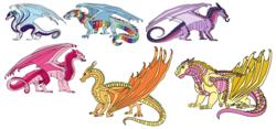 Size: 5508x2568   Tagged: safe, artist:pre08, applejack, fluttershy, pinkie pie, rainbow dash, rarity, twilight sparkle, dragon, absurd resolution, dragonified, flutterdragon, mane six, mudwing, nightwing (species), pinkiedragon, rainbow dragon, rainwing, raridragon, sandwing, seawing, simple background, skywing, species swap, twilidragon, white background, wings of fire (book series)