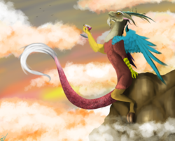 Size: 2366x1907   Tagged: safe, artist:vinicius040598, discord, draconequus, cliff, glass, sitting, sky, solo, wine glass