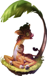 Size: 700x1125 | Tagged: safe, artist:assasinmonkey, clementine, lola the sloth, giraffe, sloth, fluttershy leans in, dirt cube, female, palm tree, simple background, solo, transparent background, tree