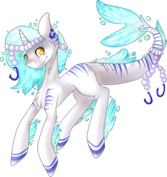 Size: 677x715 | Tagged: safe, artist:poppy-opium, oc, oc only, original species, pony, shark pony, female, horn, mare, pearl, simple background, solo, transparent background