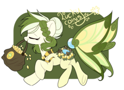 Size: 2158x1564   Tagged: safe, artist:nuryndork, oc, oc only, oc:lucky coins, original species, bag, coin, mouth hold, solo