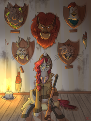 Size: 3000x4000 | Tagged: safe, artist:sourcherry, oc, oc only, cockatrice, jackalope, manticore, naked mole rat, pony, unicorn, fallout equestria, candle, decapitated, female, floor, gun, hunter, hunting trophy, implied murder, mare, molerat, mounted head, nameless oc, radhog, rifle, severed head, taxidermy, trophy, wallpaper, weapon