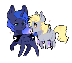 Size: 800x700 | Tagged: safe, artist:kraytt-05, derpy hooves, princess luna, pegasus, pony, cute, female, flying, heart, lesbian, looking at each other, lunaderp, mare, shipping, simple background, smiling, transparent background
