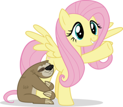 Size: 6629x5783 | Tagged: safe, artist:shutterflyeqd, fluttershy, lola the sloth, pegasus, pony, sloth, fluttershy leans in, absurd resolution, cute, raised hoof, shyabetes, simple background, transparent background, underhoof, vector