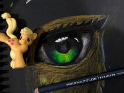 Size: 960x720 | Tagged: safe, artist:xbi, applejack, pony, eye, eyes, figurine, pencil drawing, photo, traditional art
