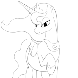 Size: 1024x1024 | Tagged: safe, artist:20thx5150, princess luna, pony, female, monochrome, pregluna, pregnant, raised hoof, simple background, smiling, solo