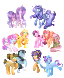 Size: 2431x2971 | Tagged: safe, artist:skele-pone, oc, oc only, oc:apple quartz, oc:axel spectre, oc:birdsong, oc:fauna flare, oc:flitter ficker, oc:princess basking bug, oc:princess moonstone, oc:roof raiser, oc:seasonal seed, oc:seer stone, oc:silent surprise, alicorn, changeling, earth pony, hybrid, pegasus, pony, unicorn, alicorn oc, changeling oc, clothes, dress, female, interspecies offspring, jewelry, magical lesbian spawn, mare, necklace, offspring, parent:applejack, parent:fluttershy, parent:octavia melody, parent:pinkie pie, parent:princess celestia, parent:princess luna, parent:queen chrysalis, parent:rainbow dash, parent:rarity, parent:sunset shimmer, parent:trixie, parent:vinyl scratch, parents:applewhooves, parents:chryslestia, parents:dashtavia, parents:flutterpie, parents:fluttertavia, parents:rarijack, parents:rariluna, parents:rarixie, parents:sunshyne, parents:twidancer, parents:vinylpie, simple background, transparent background