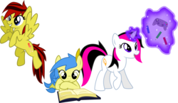 Size: 3480x2015 | Tagged: artist:audiobeatzz, book, browser ponies, female, flying, high res, joystick, magic, mare, oc, oc:daylight, oc:google chrome, oc only, oc:radiant, pegasus, pencil, pony, prone, reading, safe, simple background, transparent background, unicorn, vector