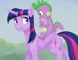 Size: 1280x989   Tagged: safe, artist:silfoe, spike, twilight sparkle, alicorn, dragon, pony, royal sketchbook, baby, baby dragon, cute, cutie mark, dragons riding ponies, duo, feather, female, folded wings, green eyes, horn, looking back, male, mama twilight, mare, purple eyes, quill, riding, scroll, smiling, spikabetes, spike riding twilight, spikelove, twiabetes, twilight sparkle (alicorn), wings