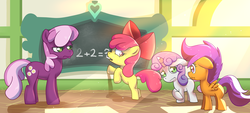 Size: 1024x461 | Tagged: safe, artist:z0rgy, apple bloom, cheerilee, scootaloo, sweetie belle, pony, chalk, chalkboard, cutie mark crusaders, fancy mathematics, math, mouth hold, nervous, scared, school, unamused