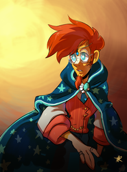 Size: 2236x3022 | Tagged: safe, artist:swanhili, sunburst, human, cape, clothes, cute, glasses, humanized, male, solo